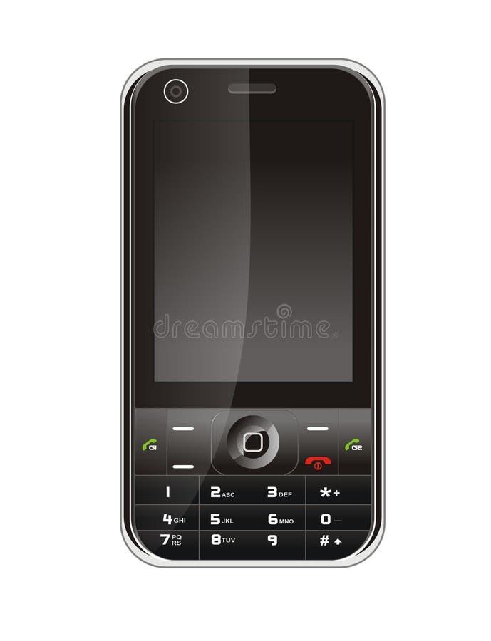 svart mobil telefon royaltyfri illustrationer
