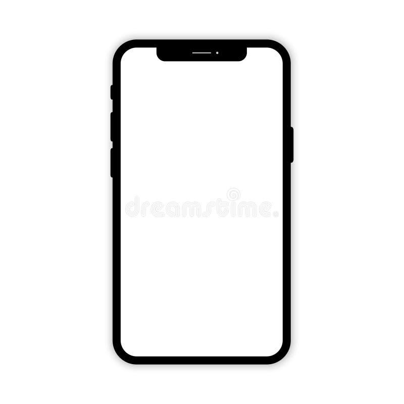 Svart mobiltelefon med den vita sk?rmen Telefonmodell Mobiltelefon p? vit bakgrund isolerad smartphone Smartphone med skugga royaltyfri illustrationer