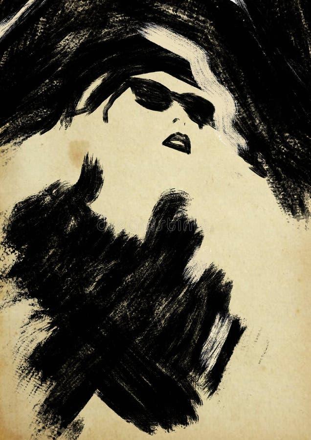 svart modeillustrationwhite mode skissar Abstrakt måla kvinna sk?rm f?r efterf?ljd f?r bakgrundsdatormode Flicka med hatten och s vektor illustrationer