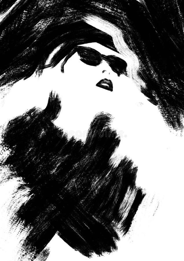 svart modeillustrationwhite mode skissar Abstrakt måla kvinna sk?rm f?r efterf?ljd f?r bakgrundsdatormode Flicka med hatten och s royaltyfri illustrationer
