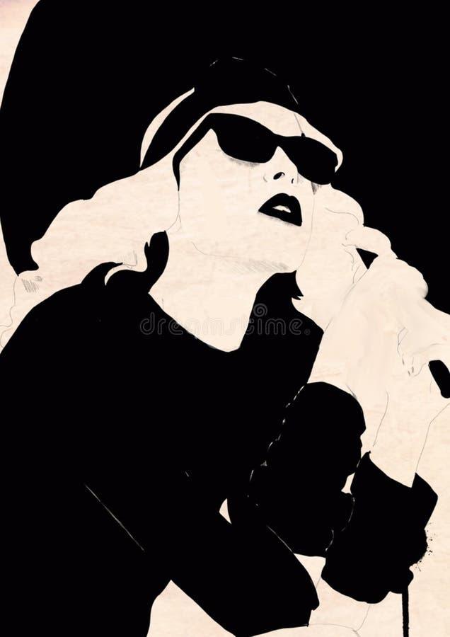 svart modeillustrationwhite mode skissar Abstrakt måla kvinna sk?rm f?r efterf?ljd f?r bakgrundsdatormode Flicka med hatten Smoke vektor illustrationer