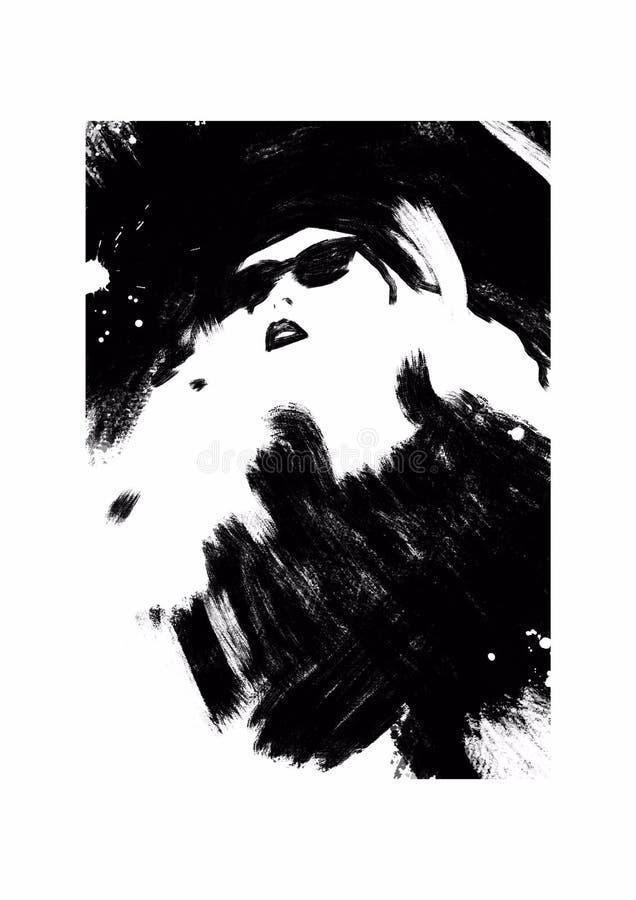 svart modeillustrationwhite mode skissar Abstrakt måla kvinna sk?rm f?r efterf?ljd f?r bakgrundsdatormode Flicka med hatten Smoke royaltyfri illustrationer