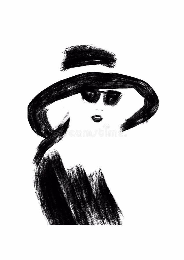 svart modeillustrationwhite mode skissar Abstrakt måla kvinna sk?rm f?r efterf?ljd f?r bakgrundsdatormode Flicka med hatten Smoke stock illustrationer