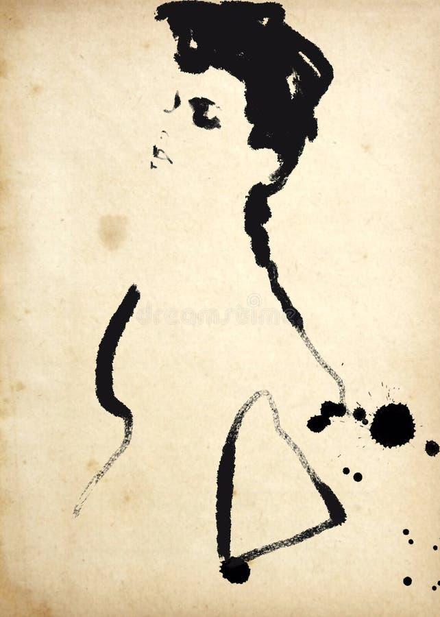 svart modeillustrationwhite mode skissar Abstrakt måla kvinna sk?rm f?r efterf?ljd f?r bakgrundsdatormode Med målarfärgfärgstänk  stock illustrationer