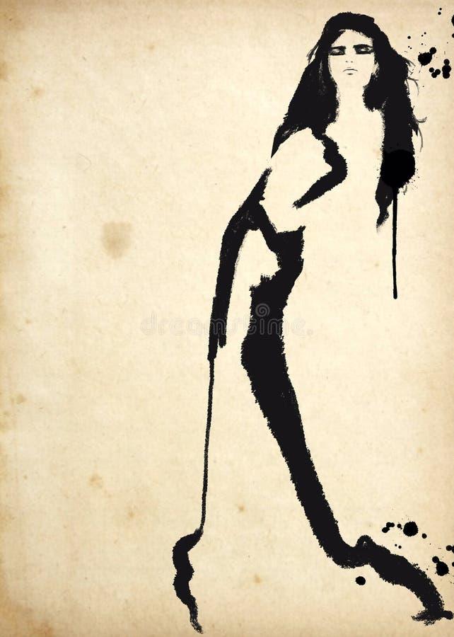 svart modeillustrationwhite mode skissar Abstrakt måla kvinna sk?rm f?r efterf?ljd f?r bakgrundsdatormode Med målarfärgfärgstänk  vektor illustrationer