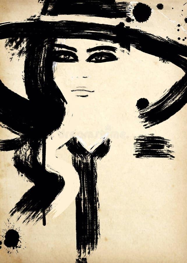 svart modeillustrationwhite mode skissar Abstrakt måla kvinna sk?rm f?r efterf?ljd f?r bakgrundsdatormode Med målarfärgfärgstänk  royaltyfri illustrationer