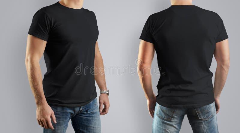 Svart modell för designen av klädert-skjortan Ung man, fron royaltyfri fotografi