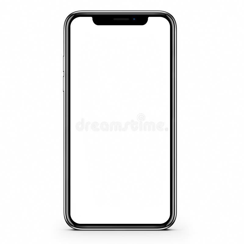 Svart modern frameless smartphone med den tomma skärmen illustration 3d stock illustrationer