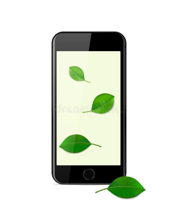 Svart modern smartphone på en vit bakgrund arkivbild