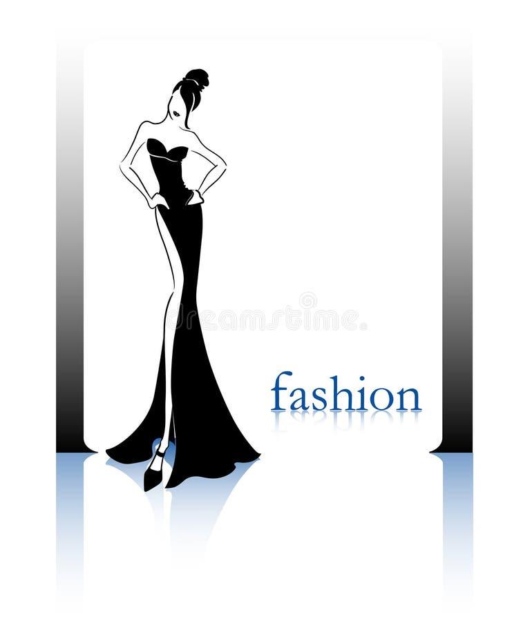 svart modesilhouette stock illustrationer
