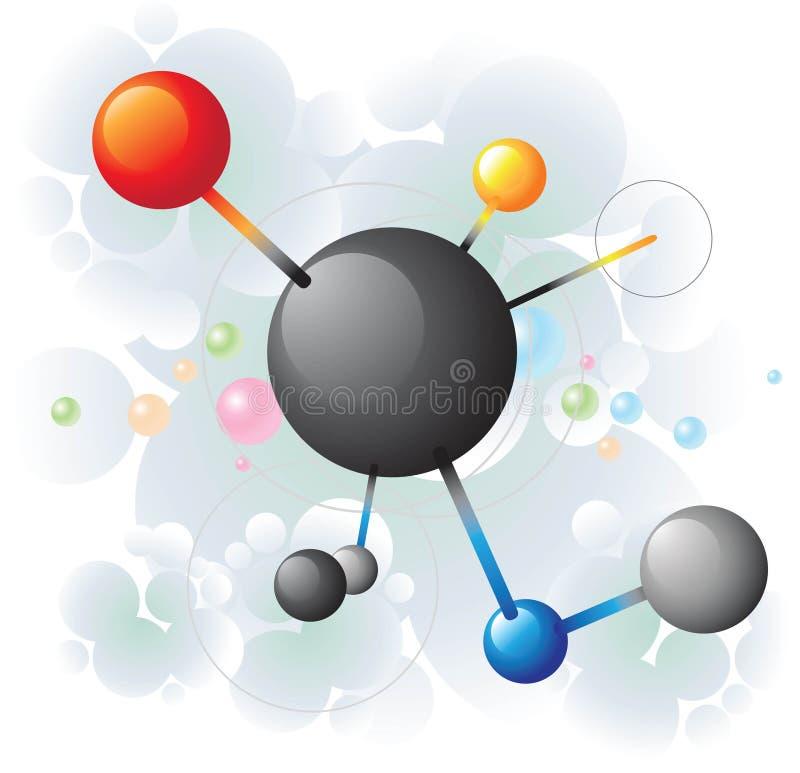 svart molekyl stock illustrationer