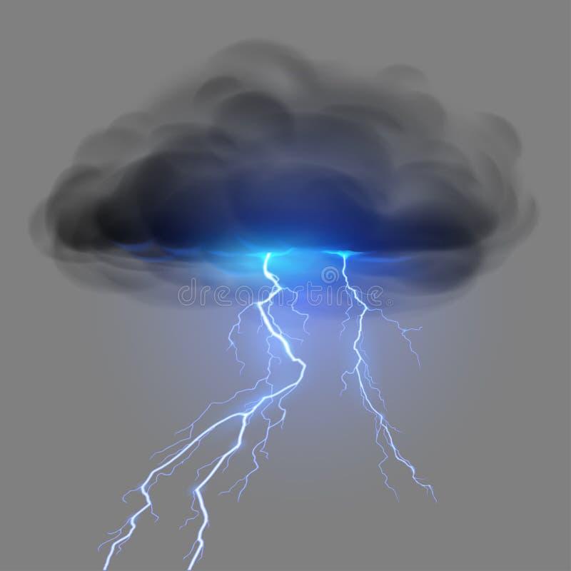 Svart moln med blixt vektor illustrationer