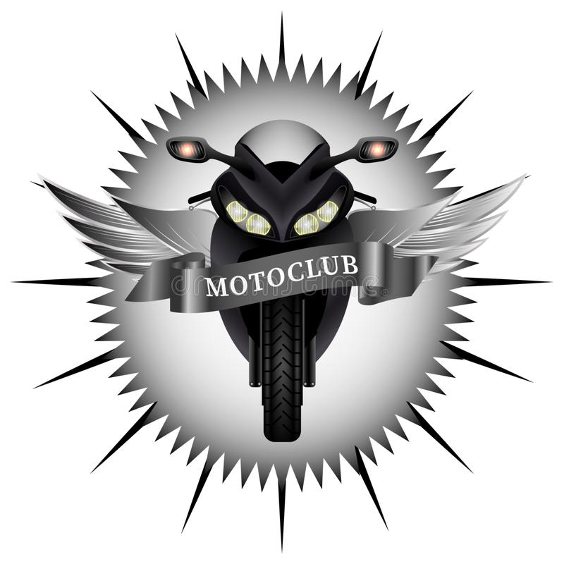 Svart motoclubemblem Cyklistlapp royaltyfri illustrationer