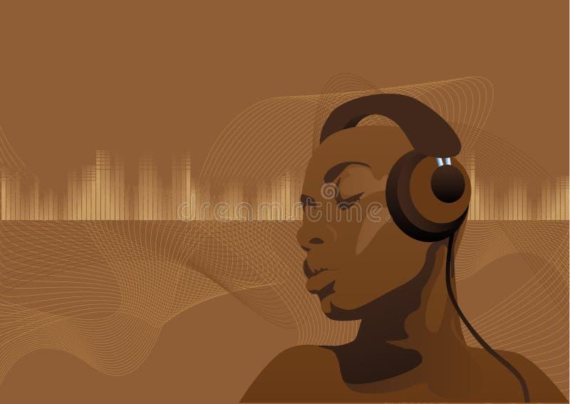 svart musicwoman royaltyfri illustrationer