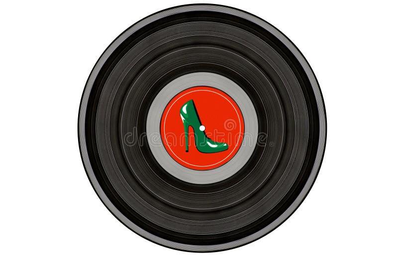 Svart musikrekord med den gröna stilettskon på röd etikettisolat royaltyfri foto
