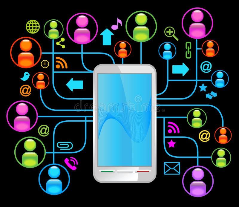 svart nätverkssamkvämtelefon royaltyfri illustrationer