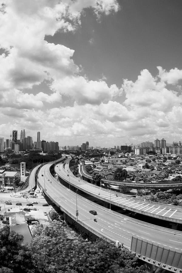 Svart n-vit - horisont av Kuala Lumpur fotografering för bildbyråer