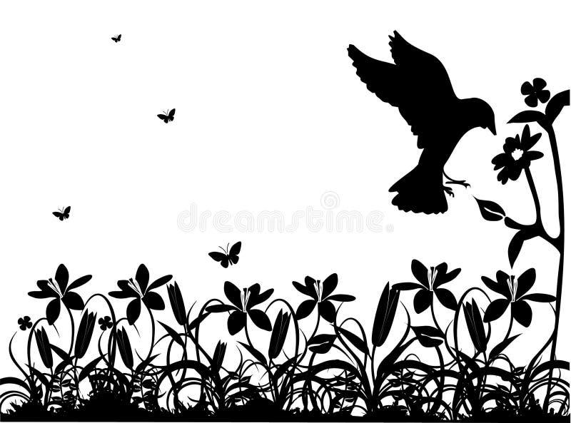 svart naturvektorwhite stock illustrationer