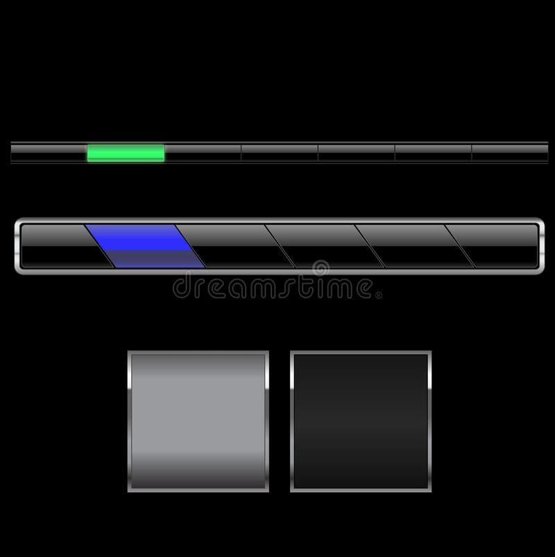 svart navigering för stänger vektor illustrationer