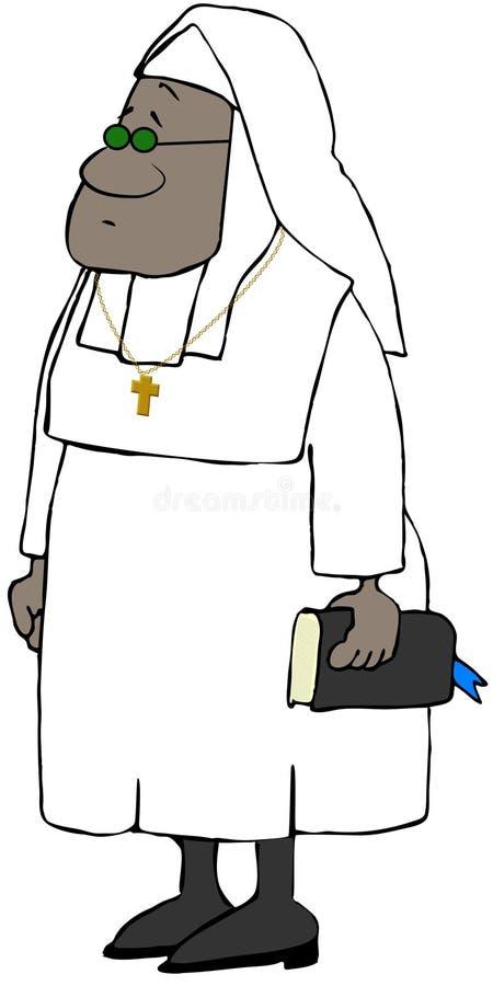 Svart nunna som bär en vit vana vektor illustrationer