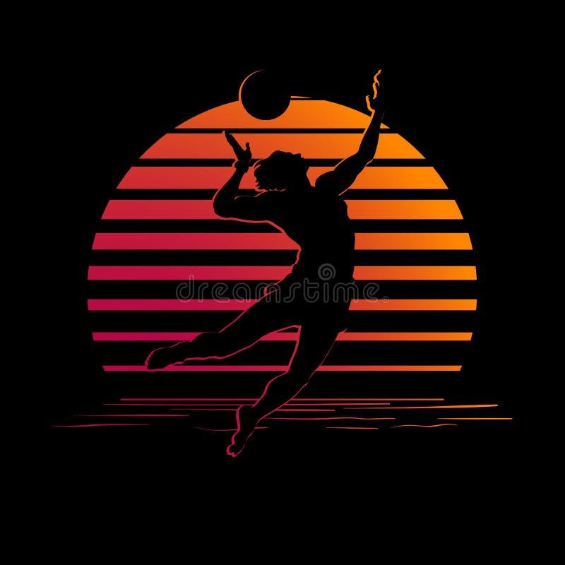 Svart- och apelsinbandlogo med konturn för volleybollspelare stock illustrationer