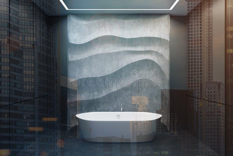 Svart och betongbadrummet, vit badar dubbelt stock illustrationer