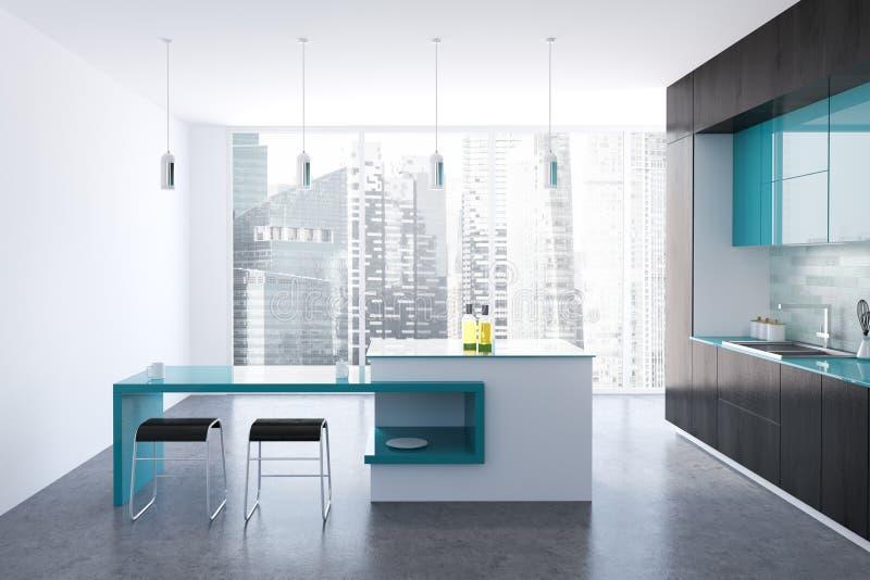 Svart och blått original- kök, stång stock illustrationer