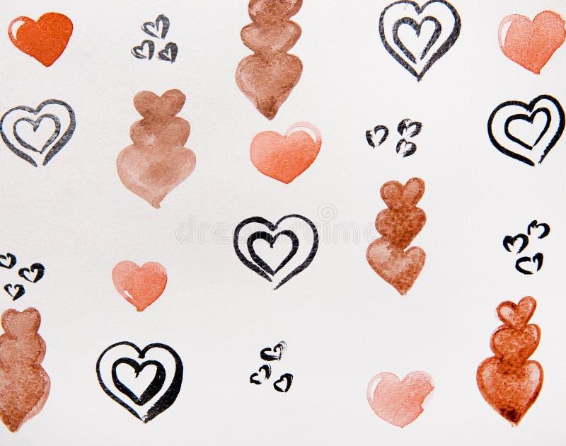 Svart och brun hjärtavattenfärg royaltyfri illustrationer