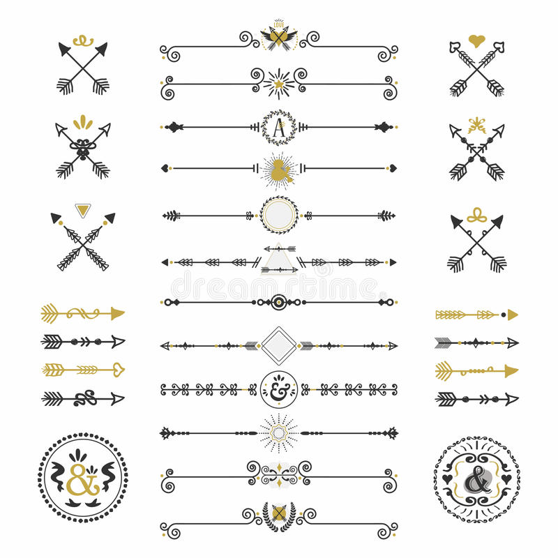 Svart och den guld- handen drog pilar och avdelarsymboler ställde in royaltyfri illustrationer