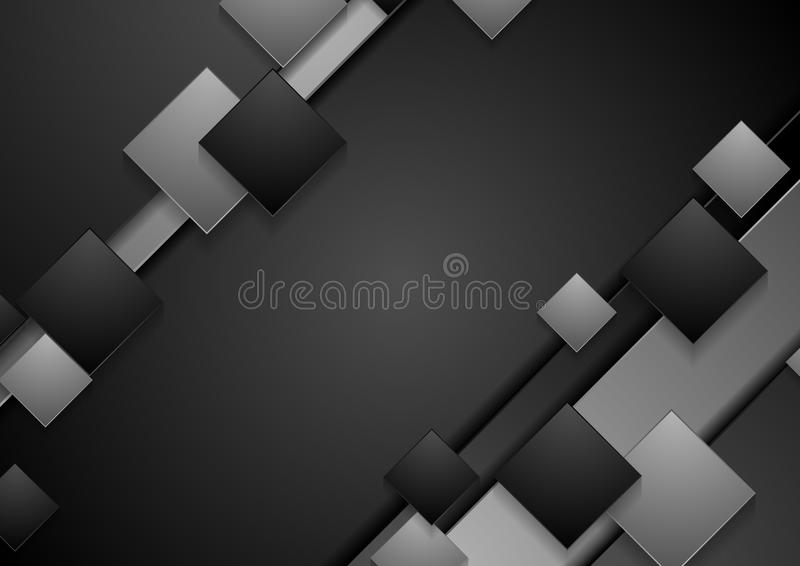Svart och grå techabstrakt begreppbakgrund stock illustrationer