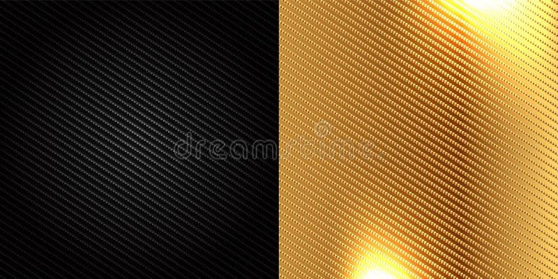 Svart och guld- bakgrund för kolfiberkevlar textur vektor illustrationer