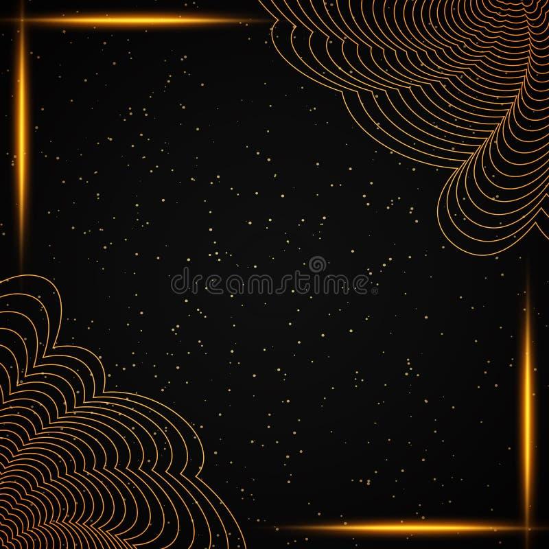 Svart och guld- bakgrund f?r lyx Design f?r presentationen, konsert, show fotografering för bildbyråer