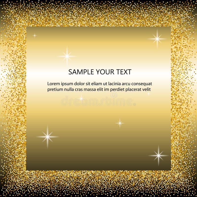 Svart och guld- bakgrund med cirkelramen och utrymme för text guld- damm som är stort för valentin, jul och födelsedag royaltyfri illustrationer