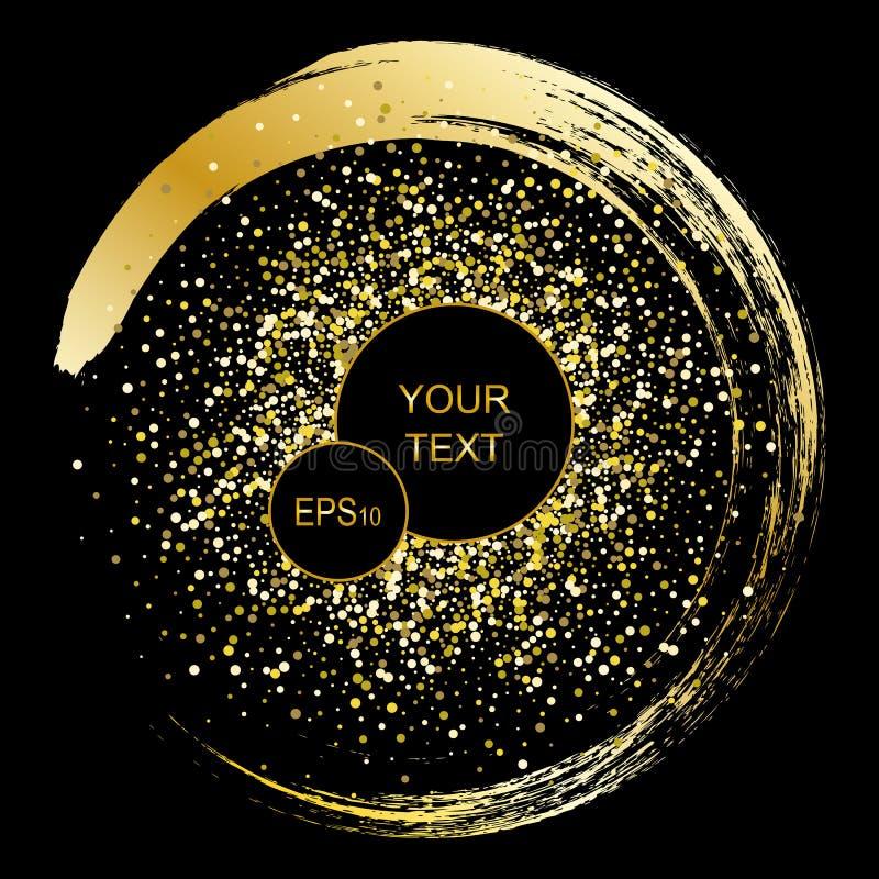 Svart och guld- bakgrund med cirkelramen och utrymme för text Vektorn blänker garnering, guld- damm royaltyfri illustrationer