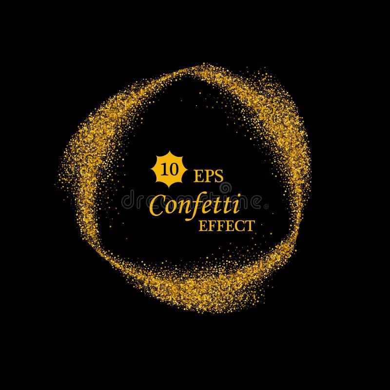 Svart och guld- bakgrund med cirkelramen och utrymme för text Vektorn blänker garnering, guld- damm vektor illustrationer