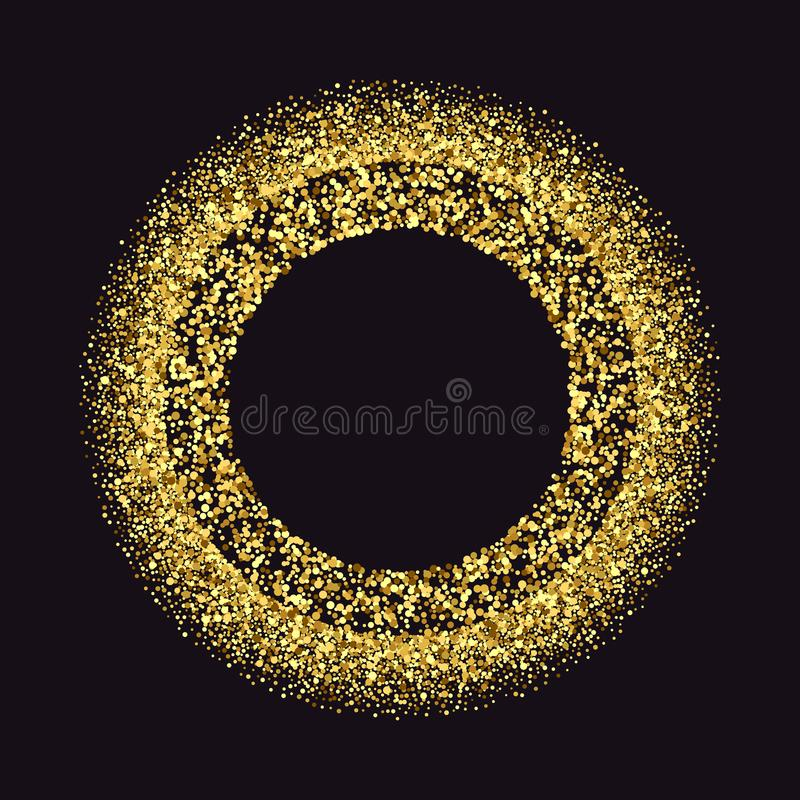 Svart och guld- bakgrund med cirkelramen och utrymme för text Vektorn blänker garnering, guld- damm stock illustrationer