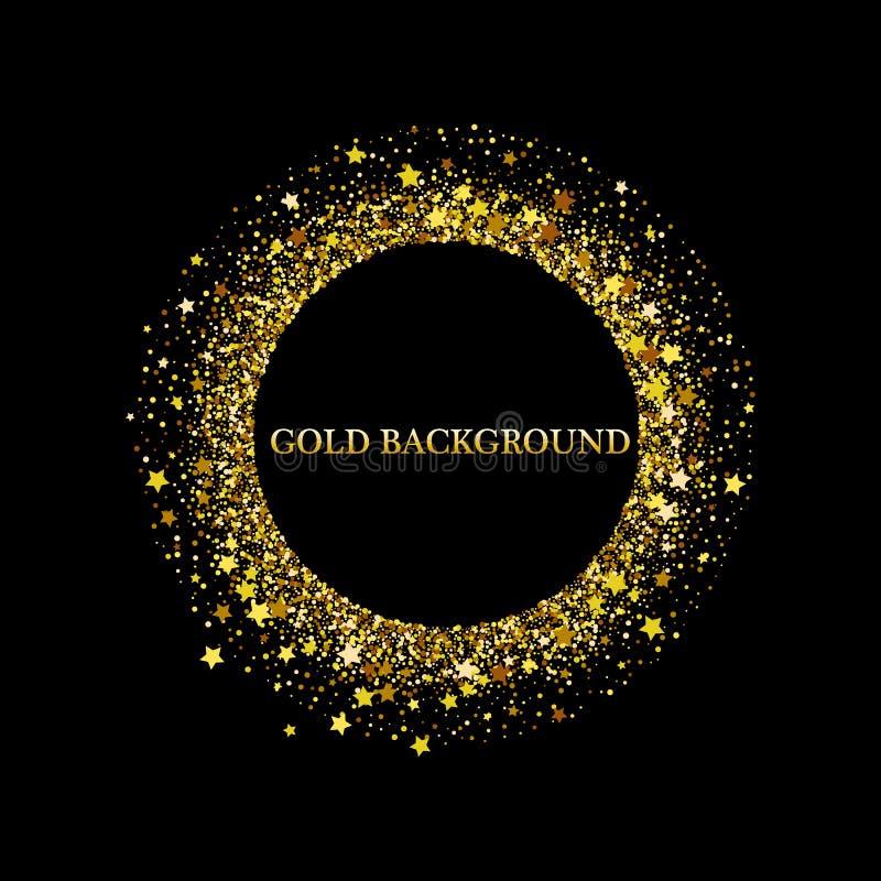 Svart och guld- bakgrund med cirkelramen och utrymme f?r text Vektorn bl?nker garnering, guld- damm stock illustrationer