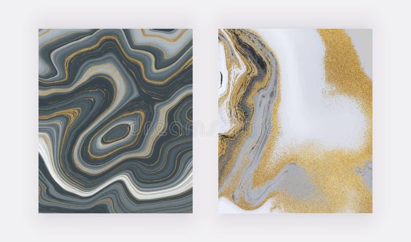 Svart och guld- blänka färgpulver som målar flytande, marmorerar textur abstrakt modell Moderiktiga bakgrunder för tapeten, rekla royaltyfri foto