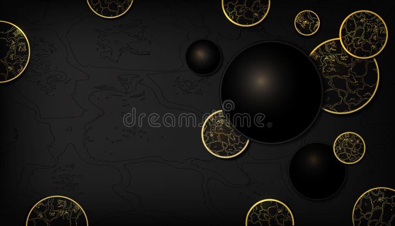 Svart och guld- guld för bakgrund för ormhud blänker, lyxigt, elegant, realistisk cirkelbakgrund för mode r stock illustrationer
