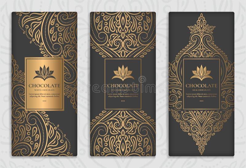 Svart och guld- förpackande design av chokladstänger royaltyfri illustrationer