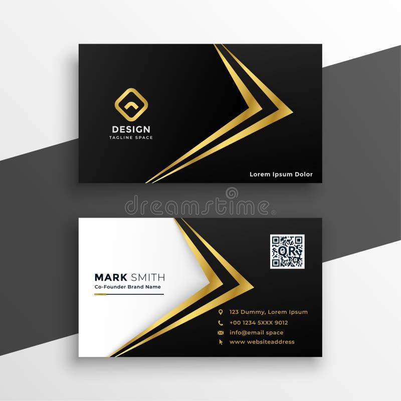 Svart och guld- högvärdig lyxig affärskortdesign stock illustrationer