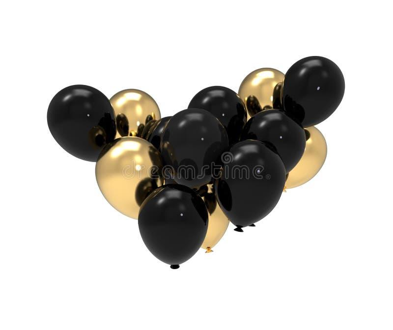Svart och guld- illustration för gruppballong 3d royaltyfri illustrationer