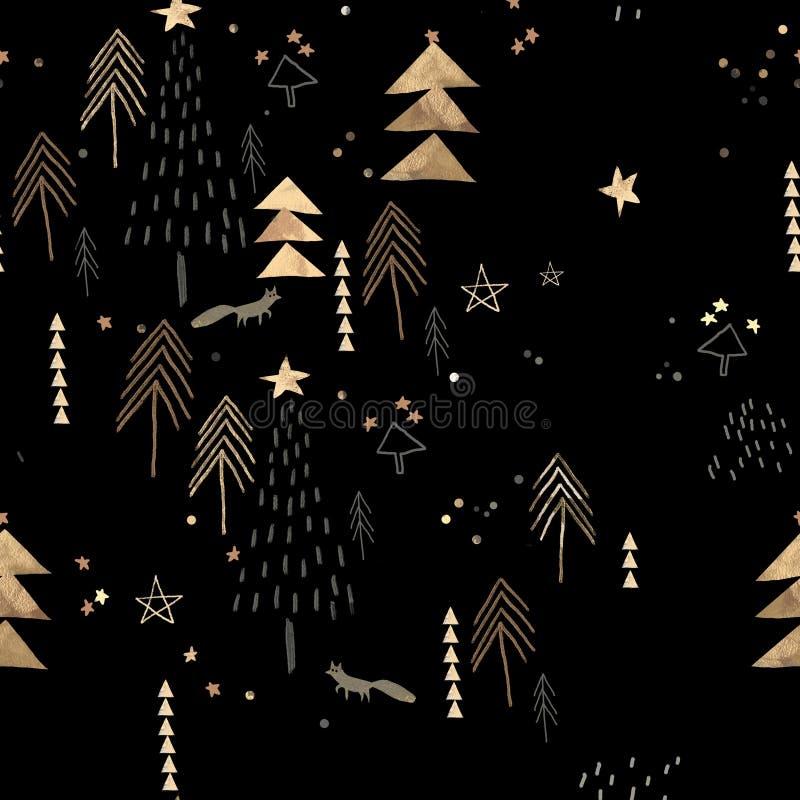 Svart och guld- julmodell arkivfoton