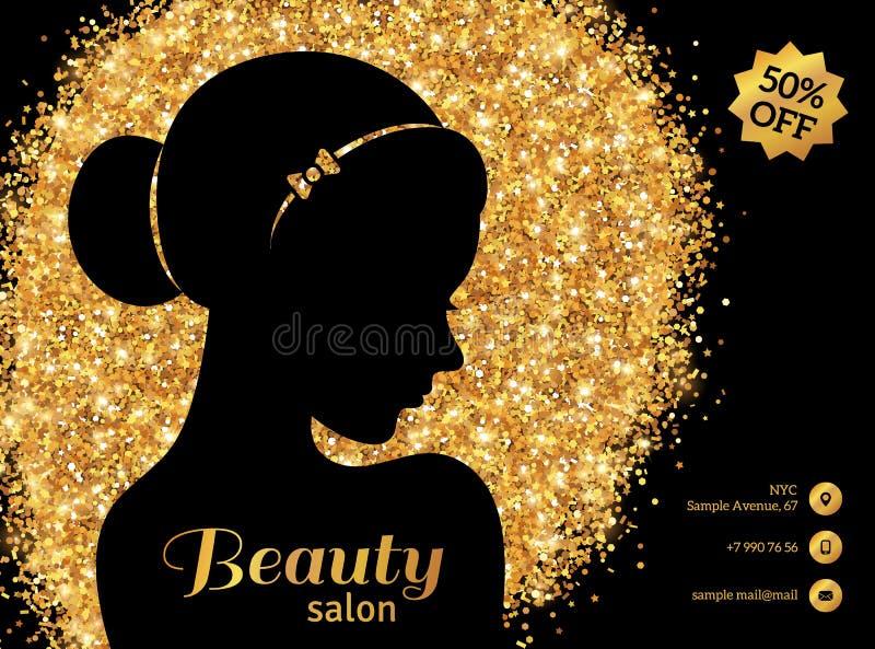 Svart och guld- modekvinna med hårbullen stock illustrationer