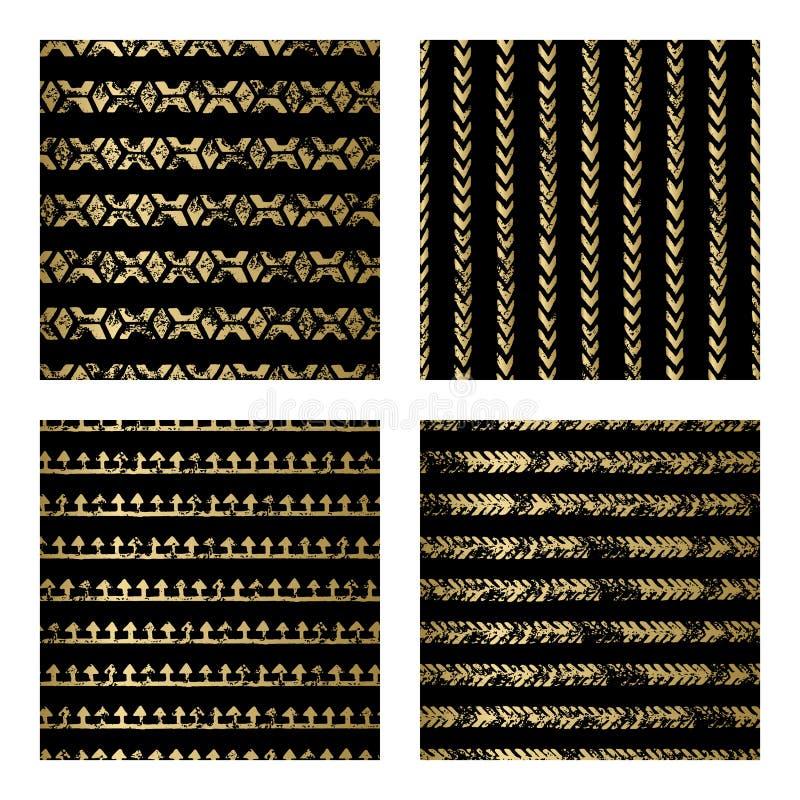 Svart och guld- sömlös modell vektor illustrationer