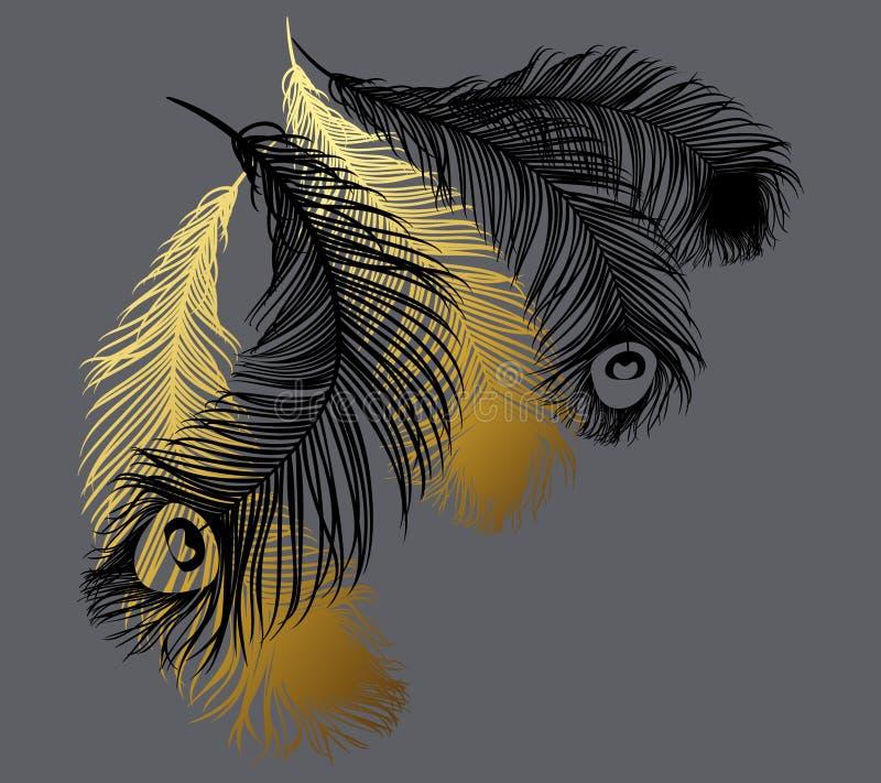 Svart och guld stiliserade fjädrar stock illustrationer