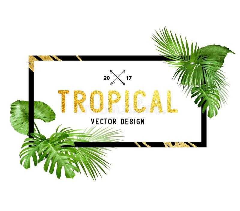 Svart och guld- tropisk gränsram vektor illustrationer