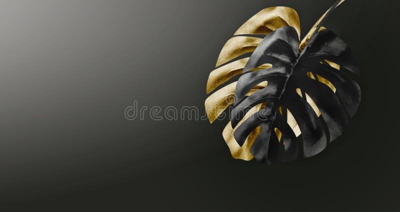 Svart och guld- tropisk sidaordning på mörk lutningbakgrund med kopieringsutrymme Idérik exotisk botanisk design mall fotografering för bildbyråer