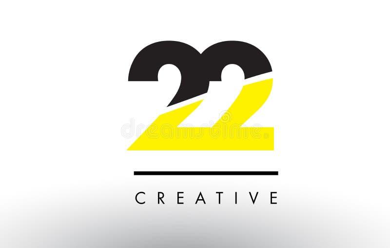 22 svart och gulingnummer Logo Design royaltyfri illustrationer