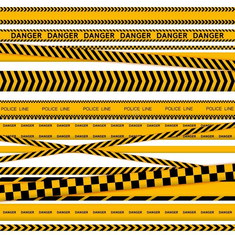 Svart- och gulingpolisbandet gr?nsar, konstruktion, upps?ttning f?r vektor f?r band f?r faravarning s?ml?s royaltyfri illustrationer